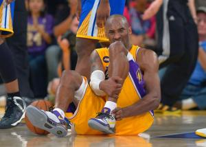 Kobe Bryant is out for the season after rupturing his achilles Friday night vs. Golden State. Photo from NY Daily News