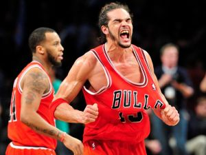 Joakim Noah lived up to his promise as he willed the Bulls past Brooklyn in Game 7. Photo from USA Today