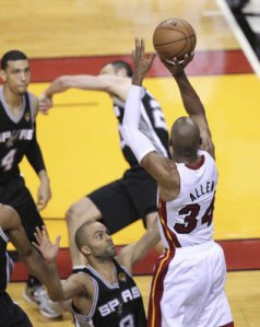 Ray Allen saved the Heat's season, sending the series to a Game 7 with his game-tying 3 with 5 seconds to go. Photo from the Miami Herald